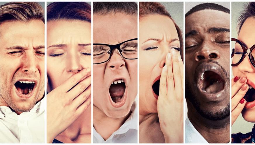 yawning people